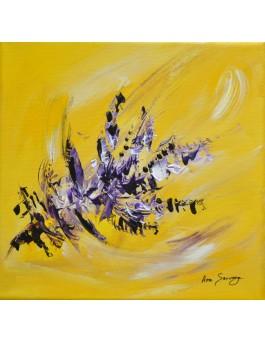 Fleur violette - tableau abstrait jaune et violet