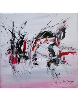 En plein vol - tableau abstrait noir blanc rouge