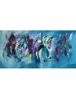 Couleurs de l'espace - tableau abstrait panoramique bleu