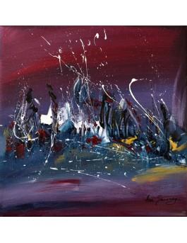 Bleu de nuit - tableau abstrait rose et bleu
