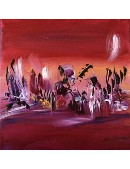 La sagesse de l'âge - tableau d'artiste peintre rose