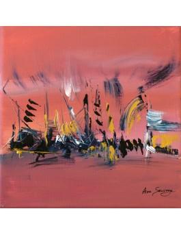 Par grand vent - tableau contemporain rose