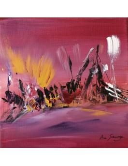 Drôles de petits êtres n°2 - peinture abstraite rose