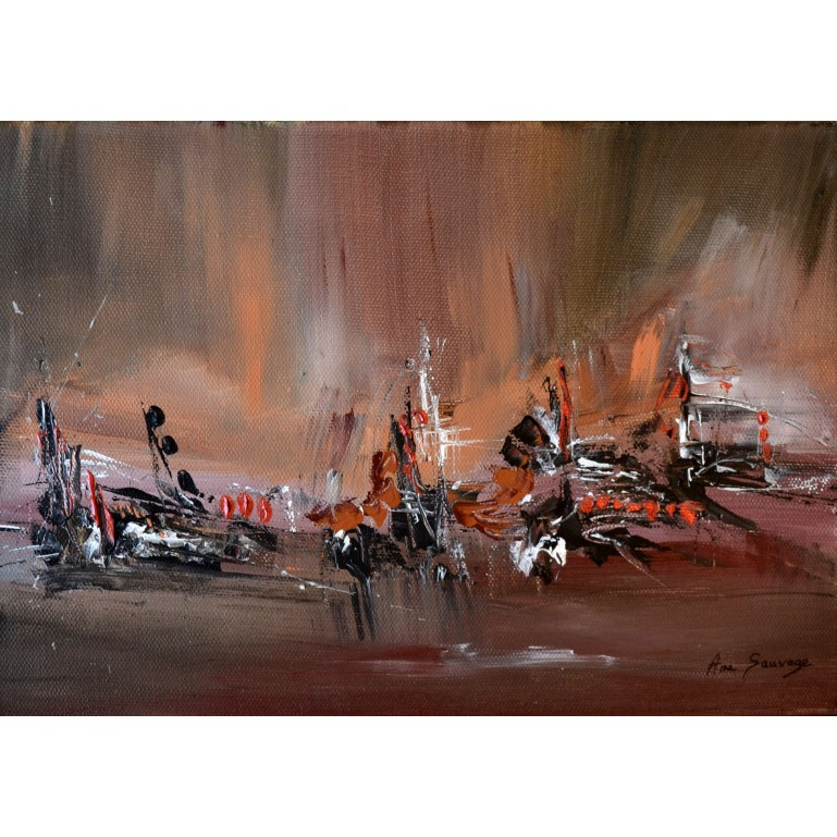 tableau abstrait marron moderne