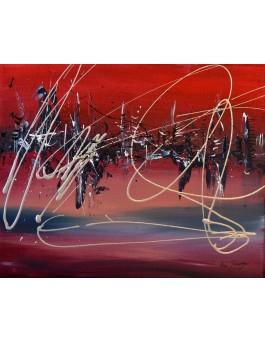 Flottaison - tableau abstrait rouge gris noir blanc argent