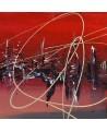 tableau abstrait rouge gris noir blanc argent
