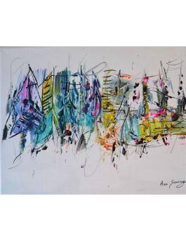 tableau abstrait coloré sur fond blanc
