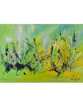La vie est partout - tableau abstrait vert jaune