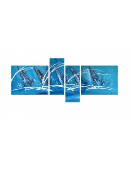 tableau avec des voiliers en 4 parties