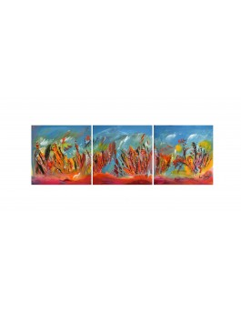 Corail flamboyant - tableau multicolore en 3 parties