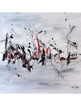 Eclat noir sur blanc - tableau abstrait noir blanc gris rouge sur plaque de bois