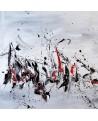 tableau abstrait noir blanc gris rouge