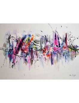 tableau abstrait multicolore sur fond blanc