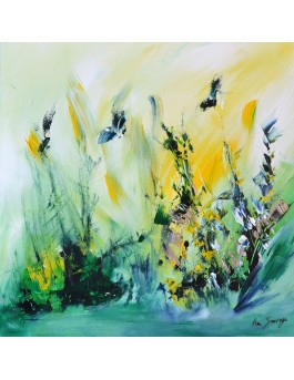 Les papillons butinent - tableau abstrait vert jaune sur plaque de bois