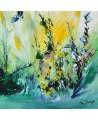 tableau abstrait vert jaune