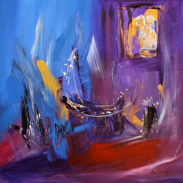 tableau abstrait violet bleu bateau