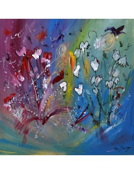 Dessin de fleurs - tableau abstrait de fleurs sur plaque de bois