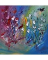 tableau abstrait de fleurs
