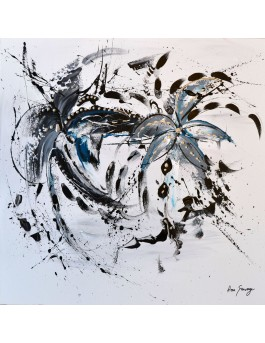 Belles et éclatantes - tableau abstrait noir et blanc sur plaque de bois