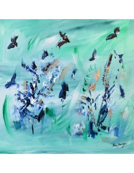 L'éclosion - tableau abstrait contemporain vert pastel sur plaque de bois