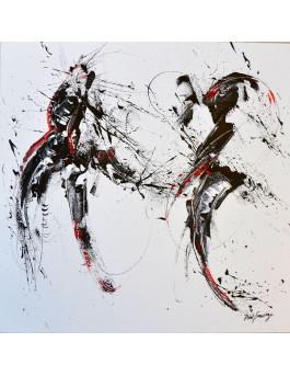 La femme et l'oiseau - tableau abstrait noir blanc rouge sur plaque de bois