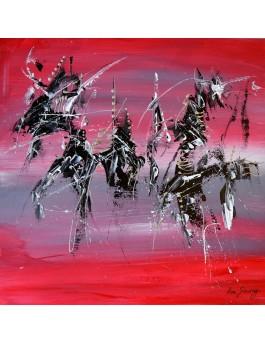 L'ombre du bateau - tableau abstrait rouge noir blanc sur plaque de bois