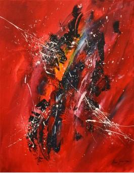Une autre vision - Tableau abstrait vertical rouge