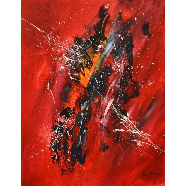 tableau abstrait contemporain vertical rouge et noir moderne
