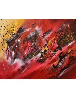 Éruptions solaires - tableau abstrait rouge noir or