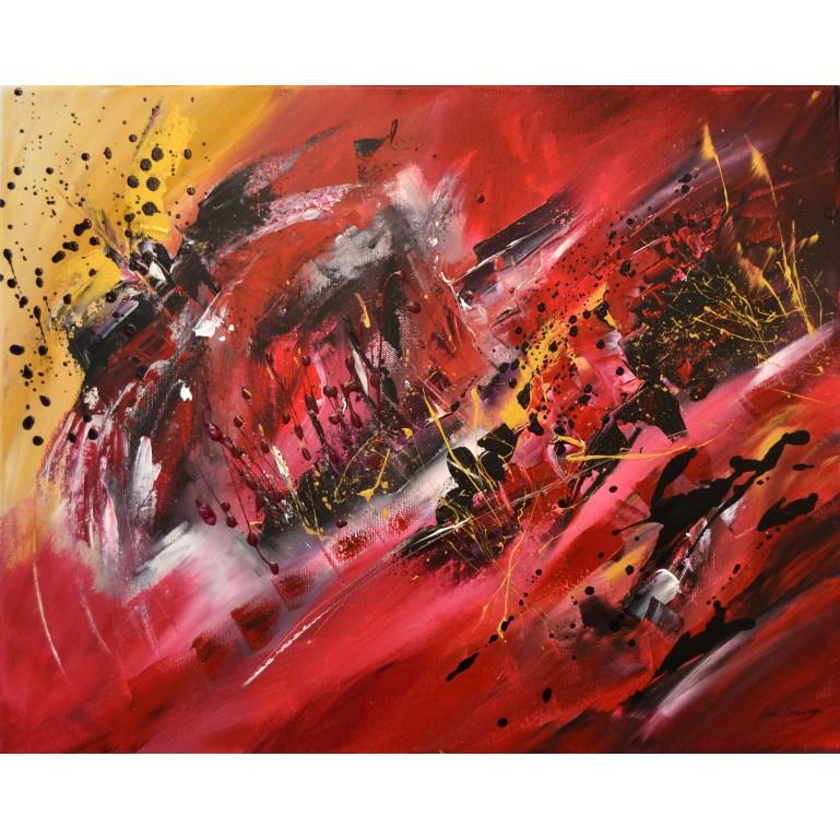tableau abstrait contemporain design rouge noir or