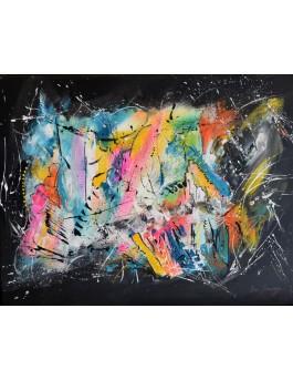 tableau abstrait flashy multicolore sur fond noir