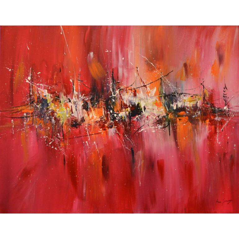 tableau abstrait rectangulaire rouge