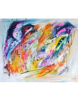 Le projet de l'âme - grand tableau abstrait multicolore