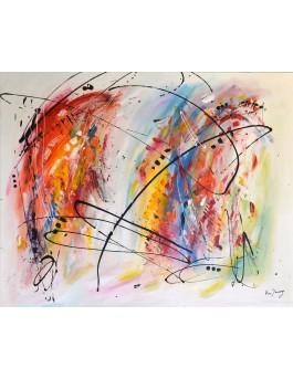 L'art à l'âme - grand tableau abstrait coloré