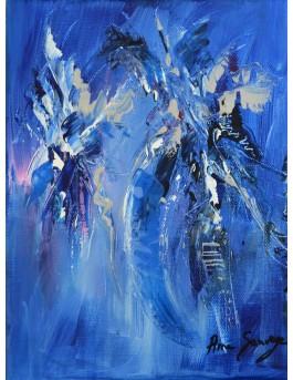 Givré - tableau abstrait vertical bleu