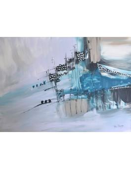 Sous la neige - tableau abstrait bleu gris sur plaque de bois