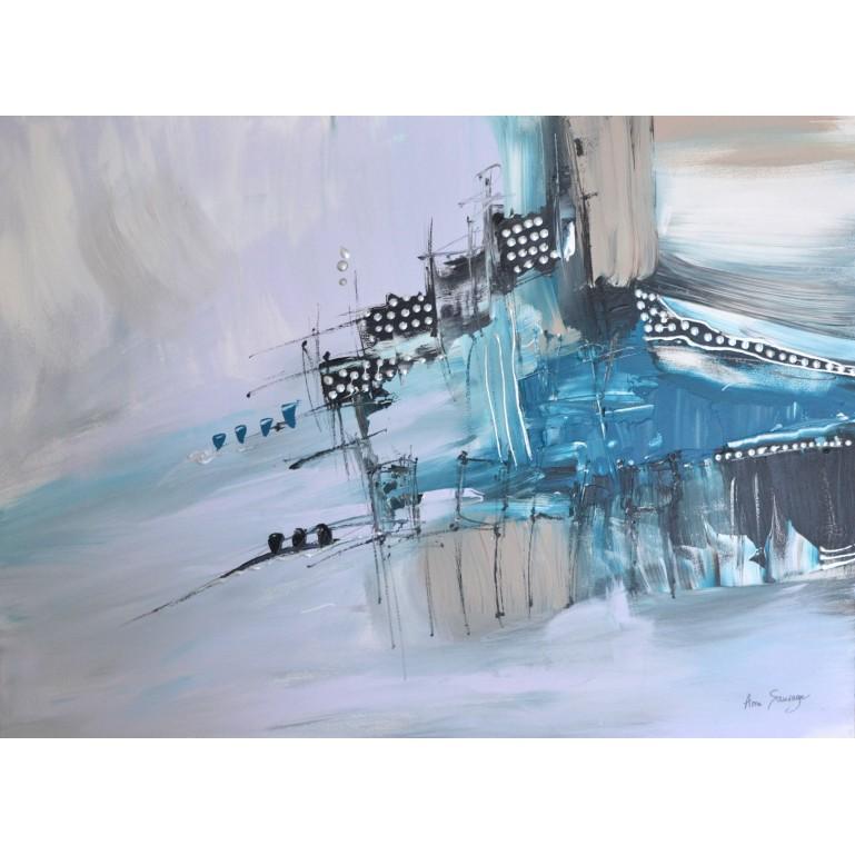 tableau abstrait bleu gris