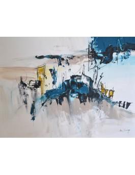 Journée sous la neige - tableau abstrait bleu gris sur plaque de bois