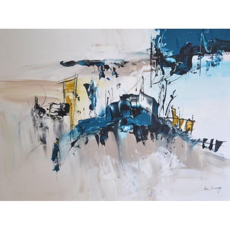 tableau abstrait bleu gris sur plaque de bois