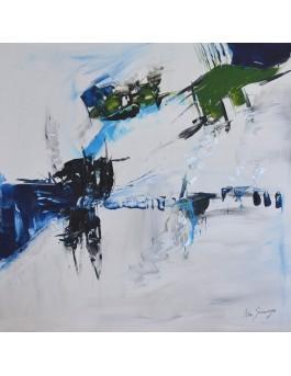 tableau abstrait blanc bleu moderne