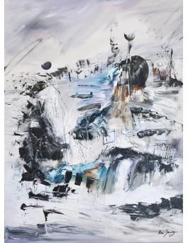 La rivière glacée - tableau abstrait vertical gris noir blanc