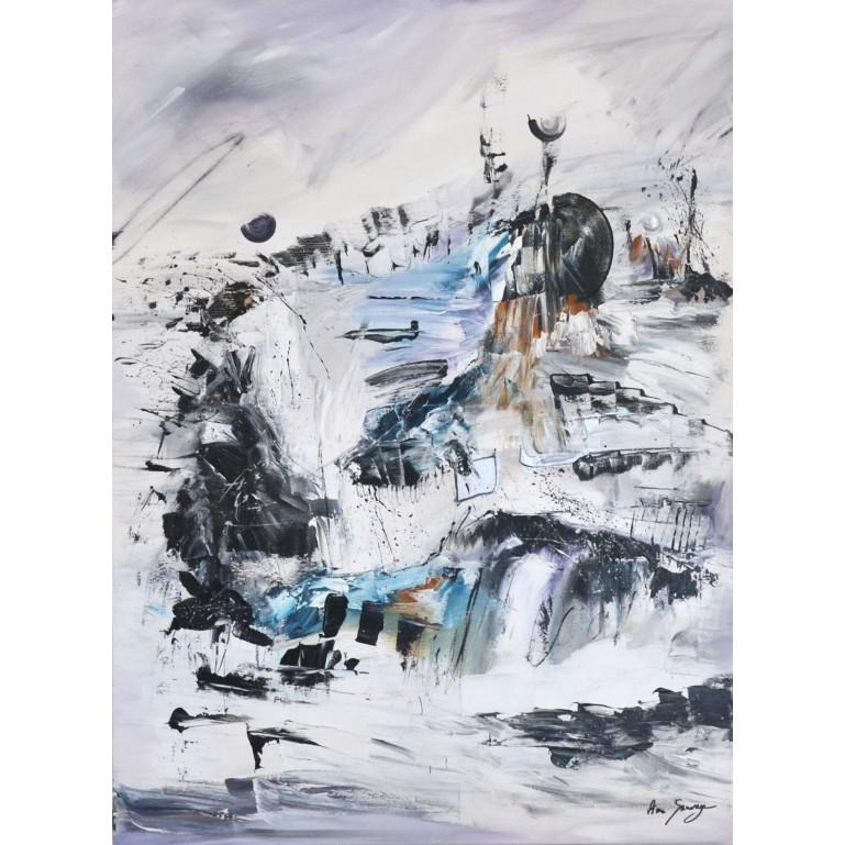 tableau abstrait vertical gris noir blanc
