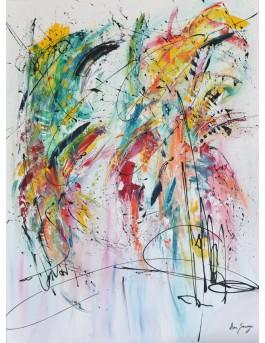 Un endroit imaginaire - tableau abstrait moderne multicolore vertical
