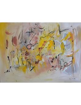Nuée de lumières - tableau abstrait gris jaune