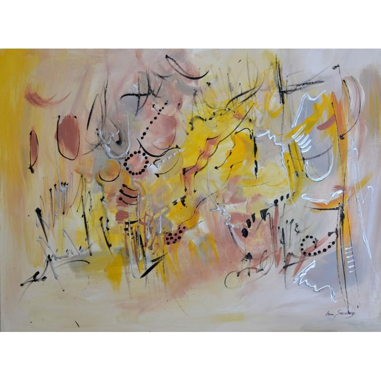 tableau abstrait gris jaune