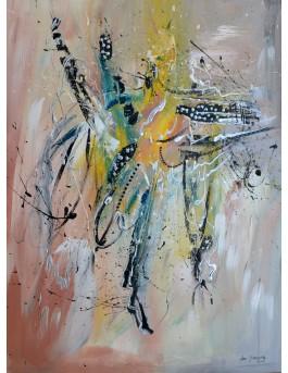 Des plumes magnifiques  - peinture abstraite moderne sur plaque de bois