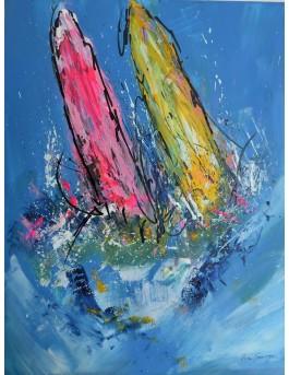 Les beaux voiliers - peinture de bateaux sur plaque de bois