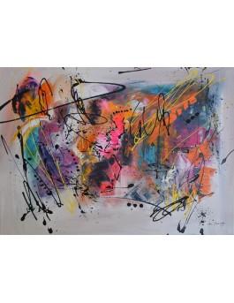 Trait d'artiste - tableau abstrait moderne multicolore