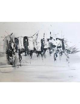 Ville du passé - tableau abstrait noir et blanc