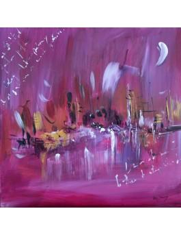 tableau abstrait moderne rose